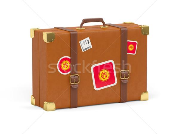 Bavul bayrak Kırgızistan seyahat yalıtılmış beyaz Stok fotoğraf © MikhailMishchenko