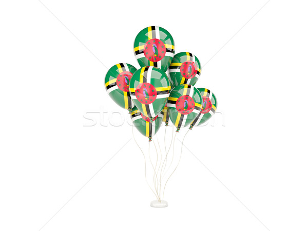 Vliegen ballonnen vlag Dominica geïsoleerd witte Stockfoto © MikhailMishchenko
