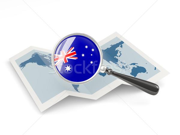 拡大された フラグ オーストラリア 地図 白 ストックフォト © MikhailMishchenko