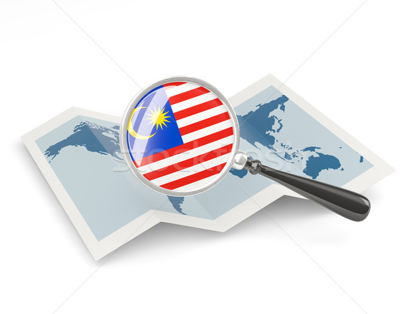 Magnified flag of malaysia with map Stock photo © MikhailMishchenko
