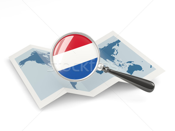 Magnified flag of netherlands with map Stock photo © MikhailMishchenko