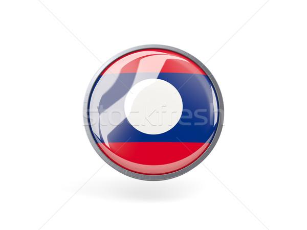 Icon vlag Laos metaal frame reizen Stockfoto © MikhailMishchenko