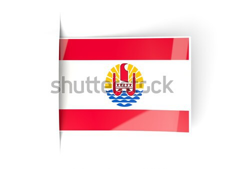 Piazza icona bandiera francese polinesia metal Foto d'archivio © MikhailMishchenko