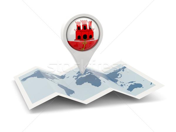 Pin banderą gibraltar Pokaż podróży biały Zdjęcia stock © MikhailMishchenko