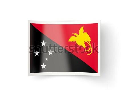 квадратный икона флаг Папуа-Новая Гвинея металл кадр Сток-фото © MikhailMishchenko