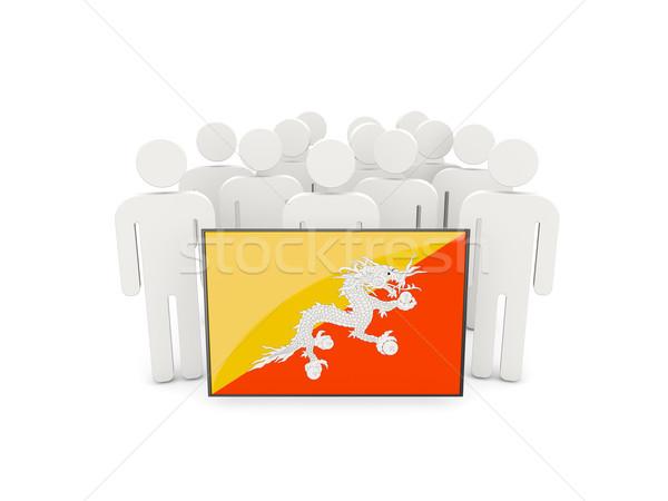 Mensen vlag Bhutan geïsoleerd witte menigte Stockfoto © MikhailMishchenko