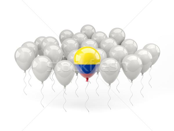 Levegő léggömbök zászló Colombia izolált fehér Stock fotó © MikhailMishchenko