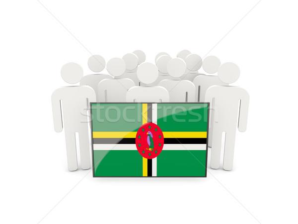 Mensen vlag Dominica geïsoleerd witte menigte Stockfoto © MikhailMishchenko