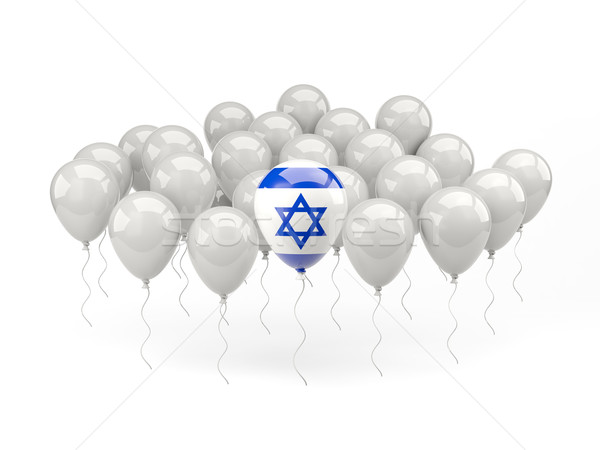 Levegő léggömbök zászló Izrael izolált fehér Stock fotó © MikhailMishchenko