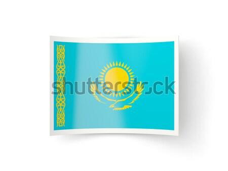 квадратный металл кнопки флаг Казахстан изолированный Сток-фото © MikhailMishchenko