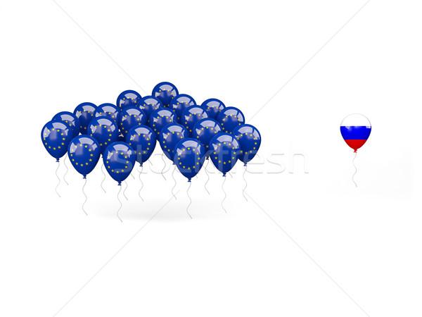 Léggömbök zászló EU Oroszország izolált fehér Stock fotó © MikhailMishchenko