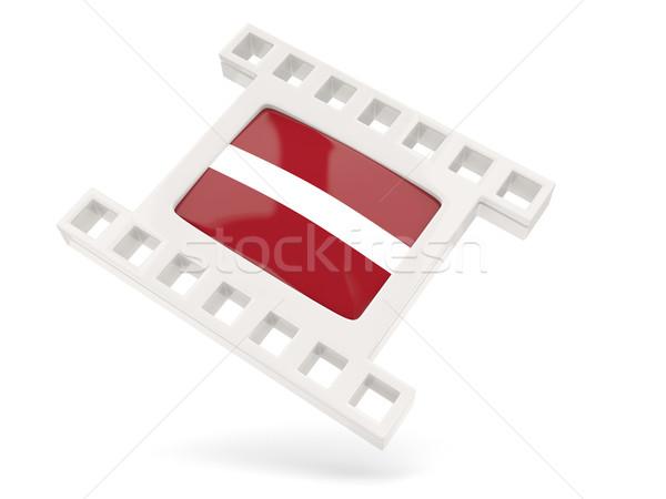 Film icon vlag Letland geïsoleerd witte Stockfoto © MikhailMishchenko