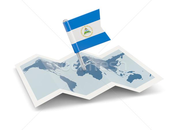 Térkép zászló Nicaragua izolált fehér Stock fotó © MikhailMishchenko