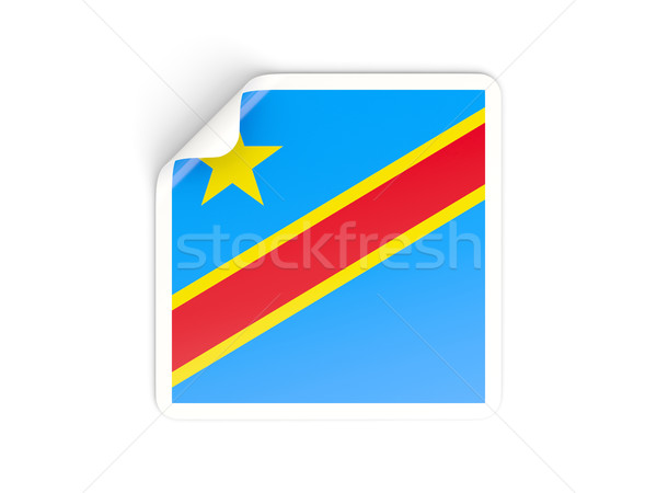 Square sticker with flag of democratic republic of the congo Stock photo © MikhailMishchenko