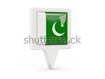 Kare Metal düğme bayrak Pakistan yalıtılmış Stok fotoğraf © MikhailMishchenko