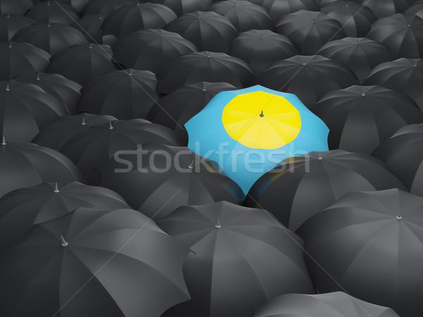 ストックフォト: 傘 · フラグ · パラオ · 黒 · 傘 · 旅行