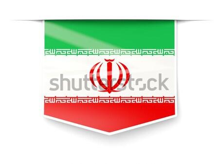 Vlag label Iran geïsoleerd witte teken Stockfoto © MikhailMishchenko