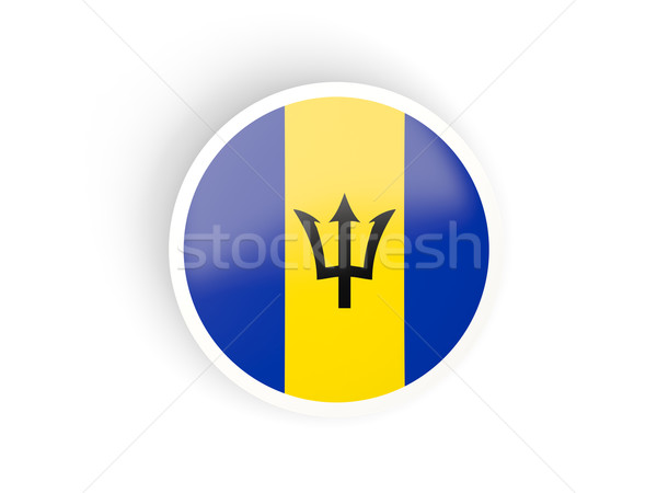 Adesivo bandiera Barbados isolato bianco viaggio Foto d'archivio © MikhailMishchenko