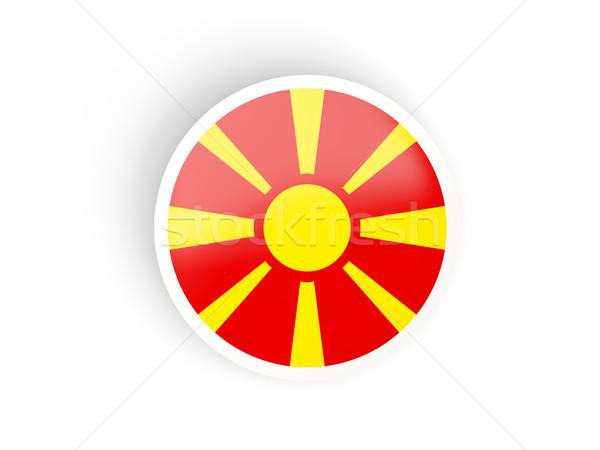 Etiqueta bandera Macedonia aislado blanco viaje Foto stock © MikhailMishchenko