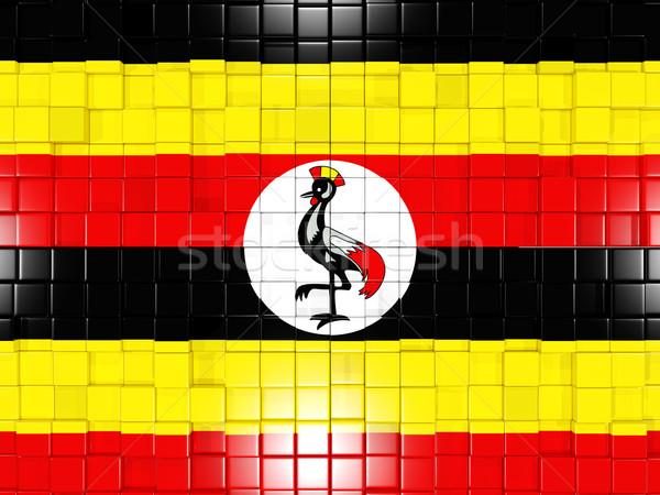 Background with square parts. Flag of uganda. 3D illustration Stock photo © MikhailMishchenko