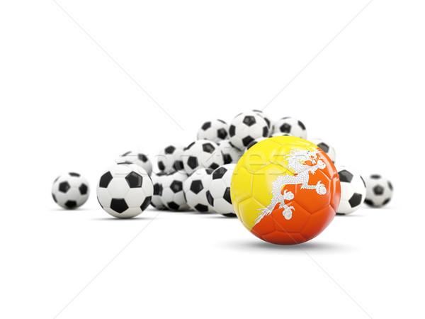 Foto stock: Futebol · bandeira · isolado · branco · ilustração · 3d · esportes