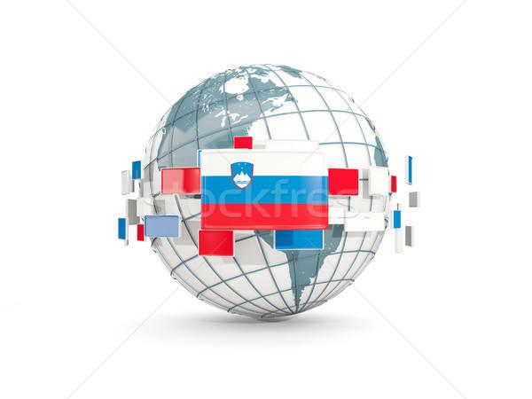Földgömb zászló izolált fehér 3d illusztráció bolygó Stock fotó © MikhailMishchenko