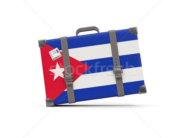 Bagaj bayrak Küba bavul yalıtılmış beyaz Stok fotoğraf © MikhailMishchenko