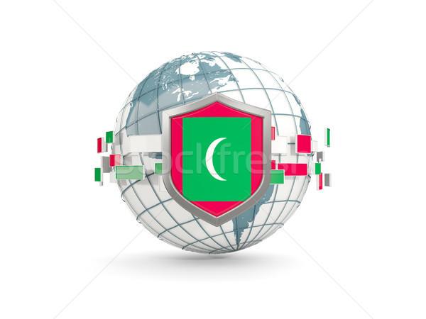 Mondo scudo bandiera Maldive isolato bianco Foto d'archivio © MikhailMishchenko