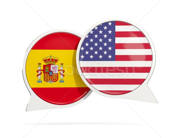 Foto stock: Conversar · bubbles · Espanha · EUA · isolado · branco