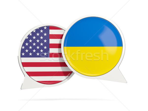 чате пузырьки США Украина изолированный белый Сток-фото © MikhailMishchenko