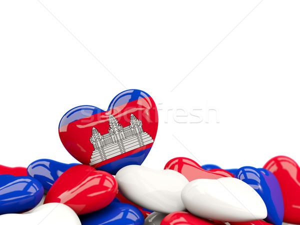 Coração bandeira Camboja topo corações isolado Foto stock © MikhailMishchenko