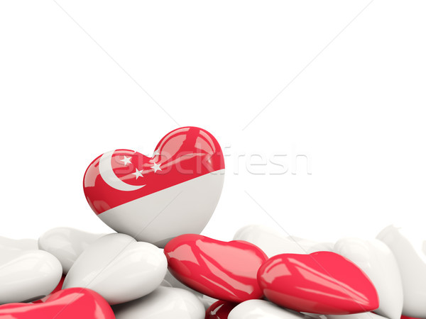 Stock photo: Heart with flag of singapore