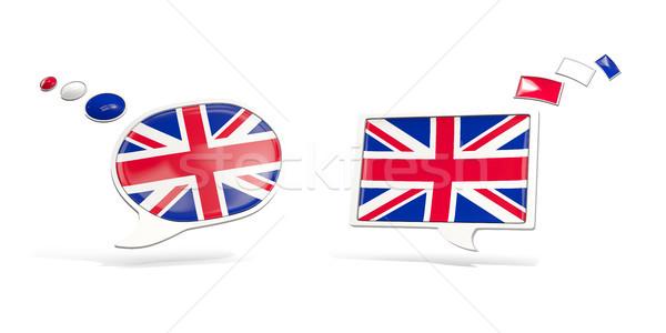 Dois conversar ícones bandeira Reino Unido praça Foto stock © MikhailMishchenko