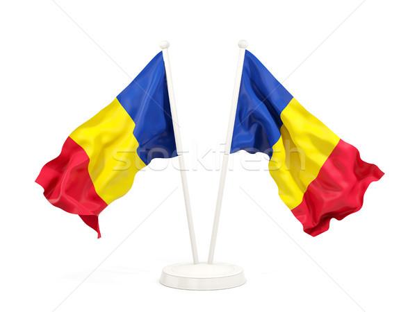 2 フラグ ルーマニア 孤立した 白 ストックフォト © MikhailMishchenko