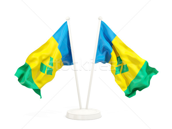 Two waving flags of saint vincent and the grenadines Stock photo © MikhailMishchenko