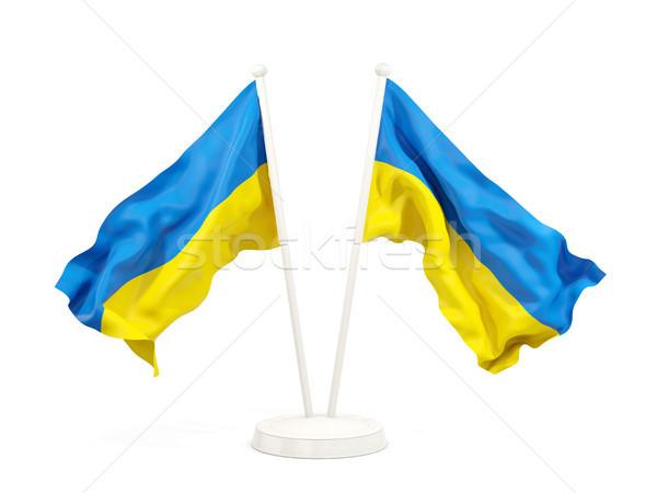 Dos banderas Ucrania aislado blanco Foto stock © MikhailMishchenko