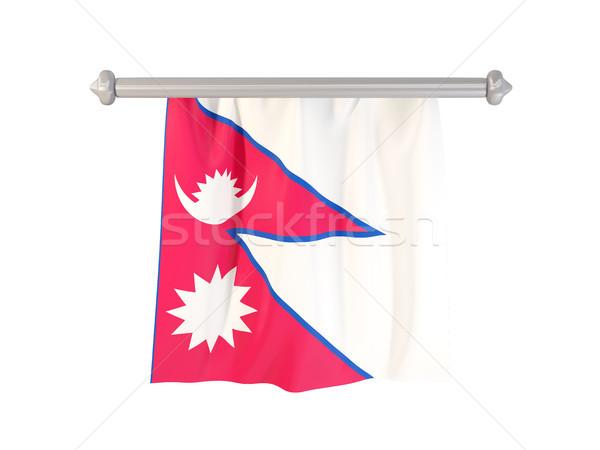 Zászló Nepál izolált fehér 3d illusztráció címke Stock fotó © MikhailMishchenko