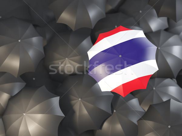 Ombrello bandiera Thailandia top nero ombrelli Foto d'archivio © MikhailMishchenko