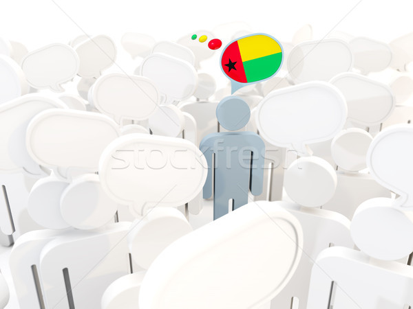 Adam bayrak Gine kalabalık 3d illustration imzalamak Stok fotoğraf © MikhailMishchenko