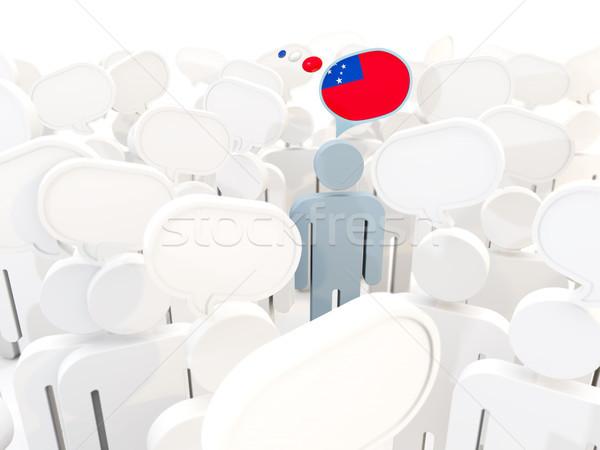 Man vlag Samoa menigte 3d illustration teken Stockfoto © MikhailMishchenko