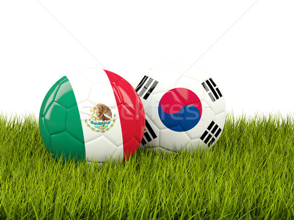 Mexico vs South Korea. Soccer concept. Footballs with flags on g Stock photo © MikhailMishchenko