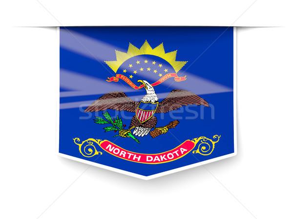 Stok fotoğraf: Kuzey · Dakota · bayrak · kare · etiket · gölge · Amerika · Birleşik · Devletleri
