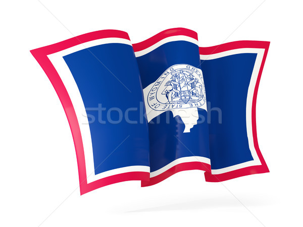 wyoming state flag waving icon close up. United states local fla Stock photo © MikhailMishchenko