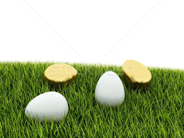 White and golden eggs on green grass Stock photo © MikhailMishchenko