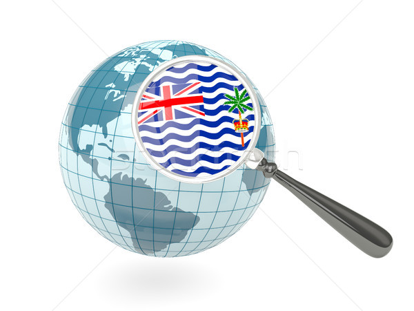 Magnified flag of british indian ocean territory with blue globe Stock photo © MikhailMishchenko