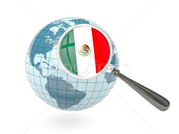 拡大された フラグ メキシコ 青 世界中 孤立した ストックフォト © MikhailMishchenko