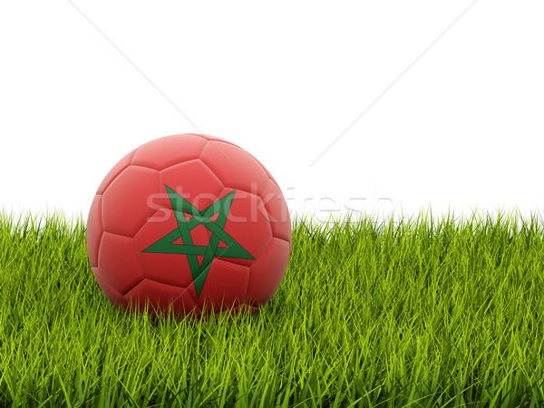 Futball zászló Marokkó zöld fű futball mező Stock fotó © MikhailMishchenko