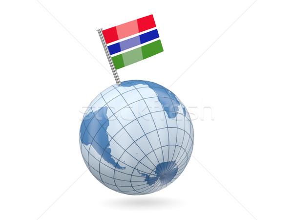 świecie banderą Gambia niebieski odizolowany biały Zdjęcia stock © MikhailMishchenko