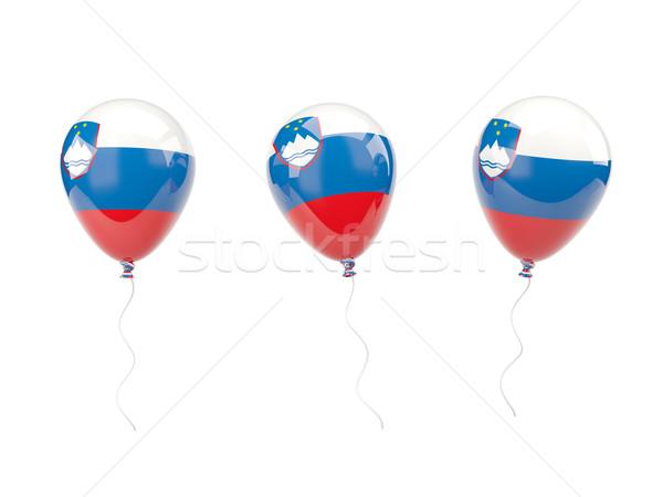 воздуха шаров флаг Словения изолированный белый Сток-фото © MikhailMishchenko