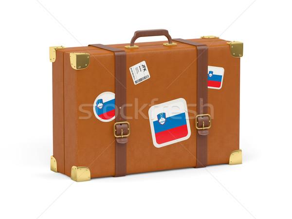 Bőrönd zászló Szlovénia utazás izolált fehér Stock fotó © MikhailMishchenko